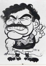 An original WEG cartoon of Ron Barassi, signed 'WEG `82'. Estimate: $1200-$1800.