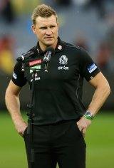 Braced: Collingwood coach Nathan Buckley.