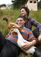 Rachel Newby and Liam Culbertson with their ducks.
