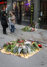 Dried blood remains on the pavement on Drottninggatan at the scene of the terrorist truck attack.