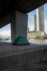 Homelessness on the banks of the Yarra River.