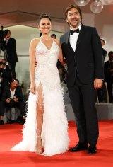 Penelope Cruz with her husband Javier Bardem at the Venice Film Festival Loving Pablo red carpet.