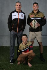 Wests Tigers coach Ivan Cleary, left, with his two sons Nathan, right, and 12-year-old Jett.