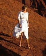 Diana descends Uluru, 1983.
