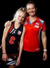 Alyssa Archer with her netball coach, Abbey McCulloch.