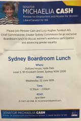 """A flyer for the """"exclusive"""" Liberal fundraiser spruiking Lucy Turnbull's role."""