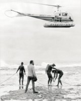 Navy skin divers prepare to enter the ocean at Cheviot Beach to search for Harold Holt in December, 1967.