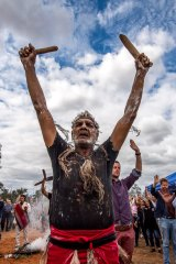"""""""Can you see him? He's there"""": Mutthi Mutthi elder David Edwards performs a ceremony for the repatriated ancestors at Balranald."""