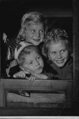 Three children from Czechoslovakia - nine-year-old Gabriela, seven-year-old Maria and four-year-old Alexander Babarczy - arrive in Australia in November 1949.