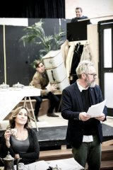 Marina Prior, Kim Gyngell, (behind) Drew Weston and Simon Gleeson in rehearsals for the MTC's Hay Fever.