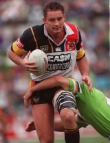 Go west: Mark Geyer playing for the Western Reds in the days of Super League.