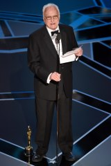 James Ivory accepts the Oscar for best adapted screenplay for <i>Call Me by Your Name</i>.