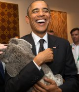 US President Barack Obama with Jimbelung the Koala.