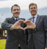 Acting director of Australian Marriage Equality Ivan Hinton-Teoh (left) and Mikael Svensson, general manager of the Hyatt Hotel, Canberra.