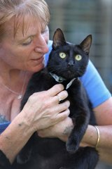 Belinda Oakman with Saviour, who was rescued from a freezer at the Wagga Wagga pound.