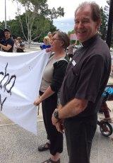Aspley-Albany Creek Anglican parish priest Nicholas Whereat spoke at the rally outside the hospital on Saturday.