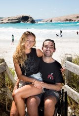 Jaimen Hudson and his girlfriend, Jess Fotheringham, at Twilight Beach, Esperance.