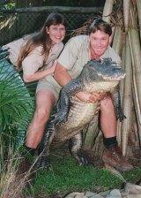 Terri and Steve Irwin in a scene from The Crocodile Hunter in 1999.