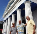 Hellenic House at West End is to be demolished. In front are Emmanuel Stergakis, George Adamopolous and Jack Conias.