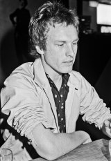 David Browne in 1980 at the launch of Ripchord new music magazine at the Jam Factory, Woden.