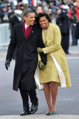President Barack Obama and first lady Michelle Obama in the Inaugural Parade in January 2009.