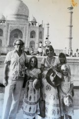"The Harcourt family at the Taj Mahal in 1977: ""Every holiday was a family adventure."""