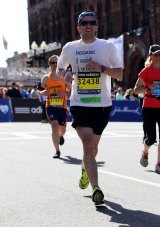 Bobby O'Donnell during the 2014 Boston Marathon.