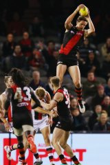 Joe Daniher hauls in a high mark during Essendon's loss to the Saints