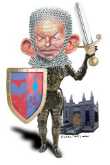 Old fashioned: Tony Abbott in armour. <i>Illustration: Rocco Fazzari</i>