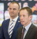 Chief Minister Andrew Barr and Education Minister Shane Rattenbury at Kaleen Primary School on Monday.