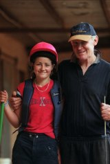 Michelle Payne and her father Paddy Payne in 2001.