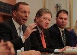 Razor gang: Josh Frydenberg, far right, is part of Tony Abbott's team to address the budget deficit.