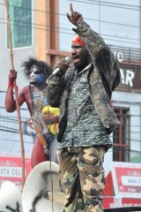 A Papuan protester addresses a crowd in Jayapura in 2011.