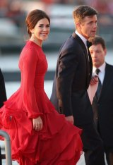 Crown Prince Frederik and Crown Princess Mary of Denmark arrive at the Muziekbouw following the water pageant after the abdication of Queen Beatrix of the Netherlands and the Inauguration of King Willem Alexander of the Netherlands in 2013.