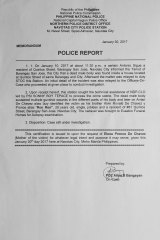The Philippine police report for the death of Alvin Ronald de Chavez also known as Heart de Chavez.