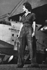Women played a key role in the maintenance of Qantas and other Allied aircraft during the war, typified by this photo of a fabric worker at the Rose Bay flying boat base.