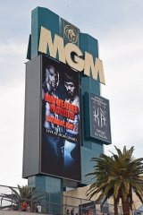 The marquee at MGM Grand Garden Arena advertises the upcoming fight in Las Vegas, Nevada.
