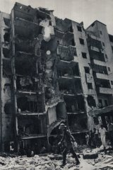 Ain al-Rummaneh, in Christian-held East Beirut, after an Israeli air strike in August 1982.