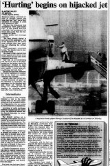 """Tear out from The Age, April 11, 1988. """"Hurting begins on hijacked jet"""""""