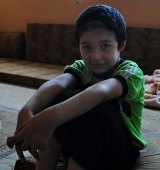 Mohamed, a young Syrian refugee, in the school in Baalbek, Lebanon, that has been his home for the past three years.