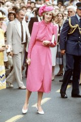 Princess Diana after visiting Fremantle Hospital, 1983, in a dress by Donald Campbell and hat by John Boyd, Millinery.