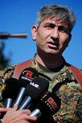 Redur Khalil, a spokesman for the Kurdish YPG militia, near the besieged town of Tel Hamis.