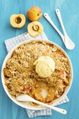 Peach and almond crumble.