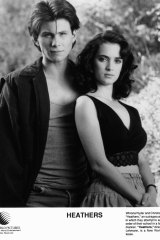 1988: Winona with co-star Christian Slater in black comedy <i>Heathers</i>.