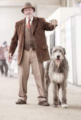 Alan Flackerty with Connaire Aiden, best of breed, Irish wolfhounds.