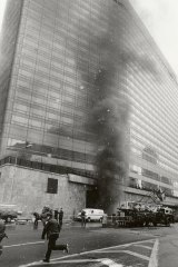 Smoke rises from an underground car park after the 1993 attack on the World Trade Centre in New York.