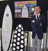Lachlan Bolton's extendable modular surfboard, called Future Board, can fit into a regular size body board bag.