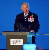 Prince Charles speaks at the dawn service.