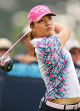 Lydia Ko of New Zealand hits a tee shot during day two of the LPGA Australian Open at Royal Melbourne.