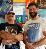 Ben Quilty (right) and convicted Bali Nine smuggler Andrew Chan in Kerobokan prison in February 2013.